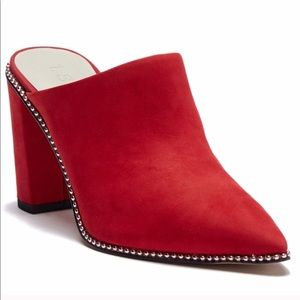 Red Studded Suede Mules